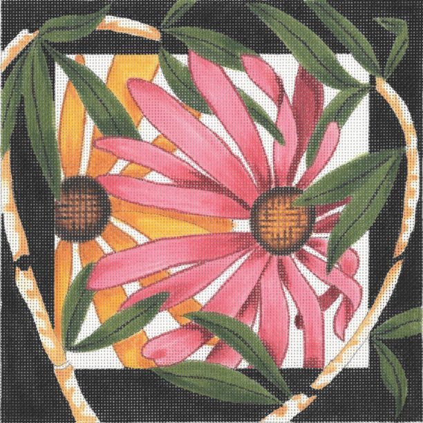 click here to view larger image of Aster / Bamboo Border (hand painted canvases)