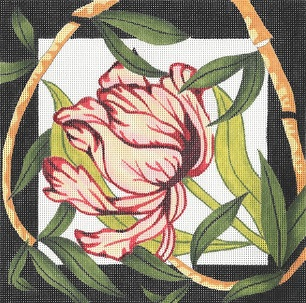 click here to view larger image of Tulip / Bamboo Border (hand painted canvases)