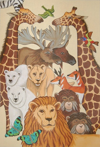 click here to view larger image of Animal Pairs Wall Hanging (hand painted canvases)