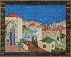 click here to view larger image of Jerusalem Tallis (hand painted canvases)