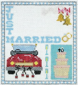 click here to view larger image of Just Married Sampler-Wedding info not included in price (hand painted canvases)
