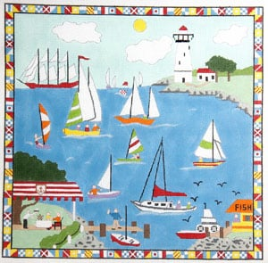 click here to view larger image of Sailing Scene (hand painted canvases)