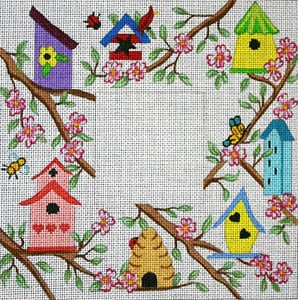 click here to view larger image of Birdhouses in Dogwood (hand painted canvases)