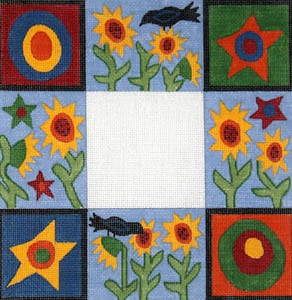 click here to view larger image of Blackbird and Sunflower Primitive (hand painted canvases)