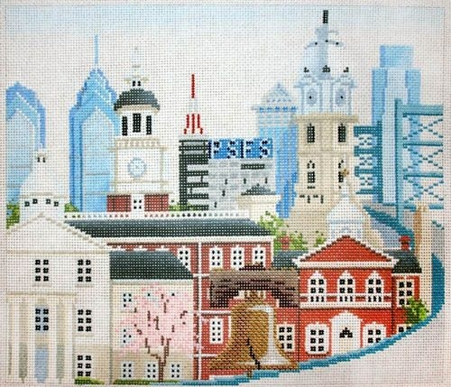 click here to view larger image of Philadelphia Old and New (hand painted canvases)