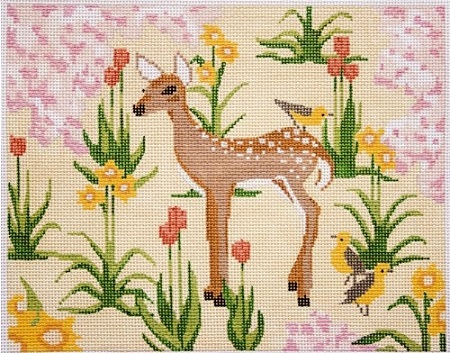 click here to view larger image of Deer in Flowers (hand painted canvases)