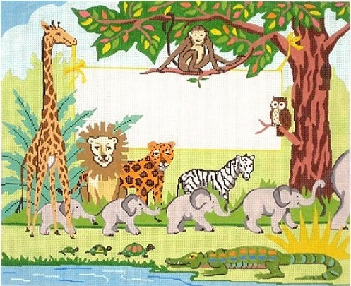 click here to view larger image of Animals Birth Sampler (hand painted canvases)