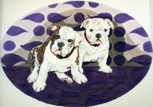 click here to view larger image of Crystal and Capone - The Bulldog Pups (hand painted canvases)