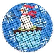 click here to view larger image of Christmas Cupcake Snowman (hand painted canvases)