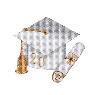 click here to view larger image of Graduation Cap - White with Year (hand painted canvases)