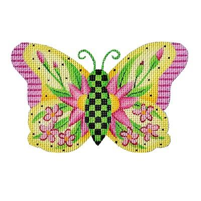 click here to view larger image of Butterfly - Yellow with Pink Flowers (hand painted canvases)