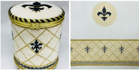 click here to view larger image of Fleur de Lis Box (hand painted canvases)