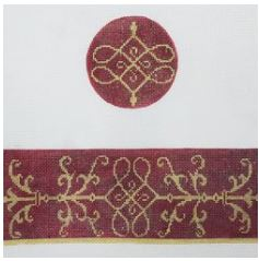 click here to view larger image of Burgundy and Gold Box (hand painted canvases)