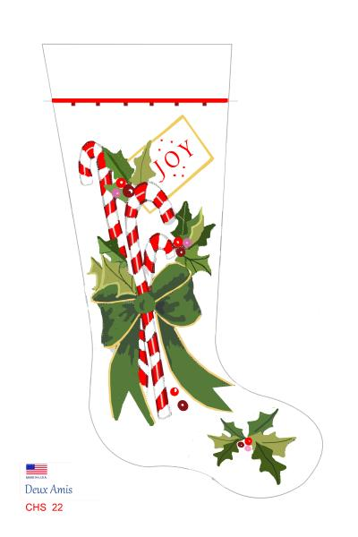 click here to view larger image of Candy Canes & Bow - 18M (Canvas)