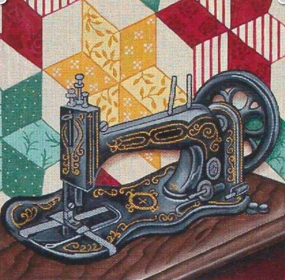 click here to view larger image of Sewing Machine (hand painted canvases)