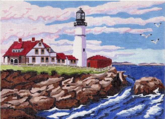 click here to view larger image of Lighthouse Scene    (hand painted canvases)