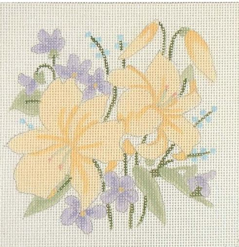 click here to view larger image of Lilies & Violets  (hand painted canvases)