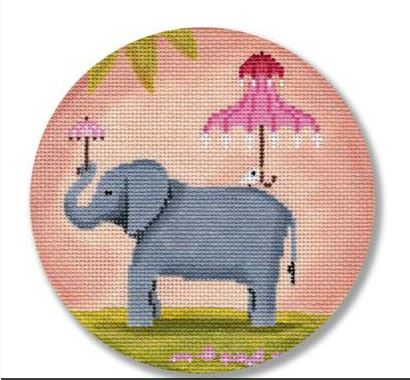 click here to view larger image of Elephant with Pink Umbrella  (hand painted canvases)