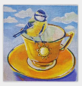 click here to view larger image of Teacup Bird Two (hand painted canvases)