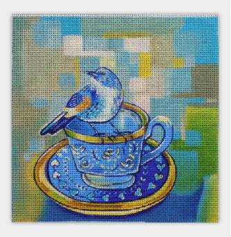 click here to view larger image of Teacup Bird One (hand painted canvases)