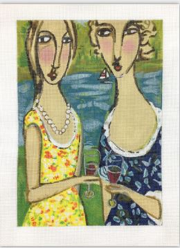 click here to view larger image of Two Friends with Wine (hand painted canvases)