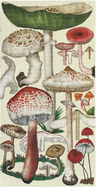click here to view larger image of Green Mushrooms (hand painted canvases)