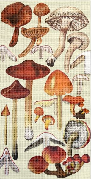 click here to view larger image of Red Mushrooms (hand painted canvases)