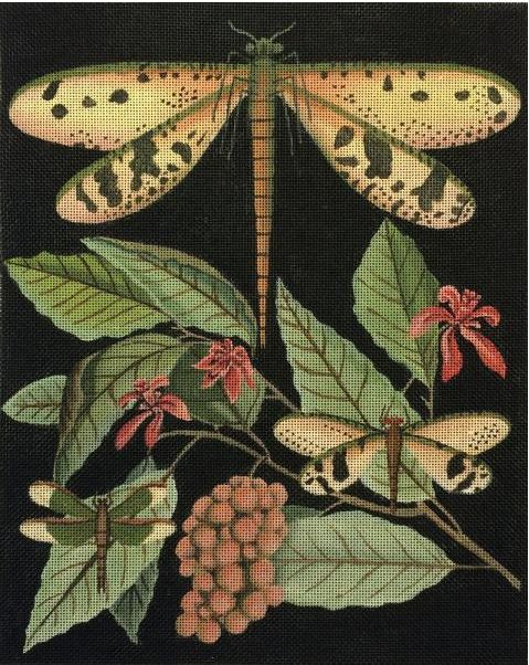 click here to view larger image of Dragonflies - Berries (hand painted canvases)