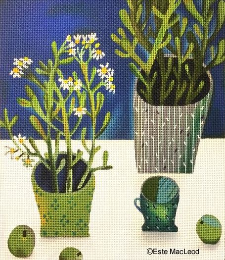 click here to view larger image of Daisies & Green Pot (hand painted canvases)
