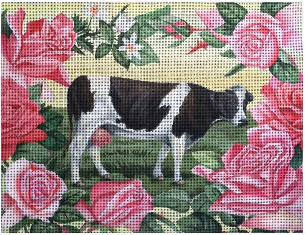 click here to view larger image of Pink Roses and Cow (hand painted canvases)