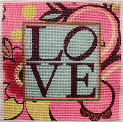 click here to view larger image of LOVE in Pinks (hand painted canvases)