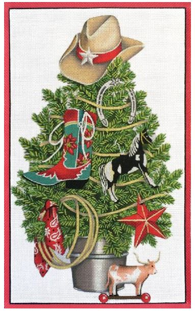 click here to view larger image of Cowboy Christmas Tree  (hand painted canvases)