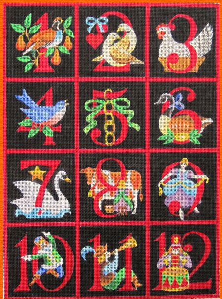 click here to view larger image of 12 Days of Christmas (2) (hand painted canvases)