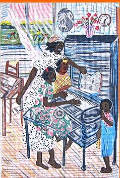 click here to view larger image of Piano Lessons (hand painted canvases)