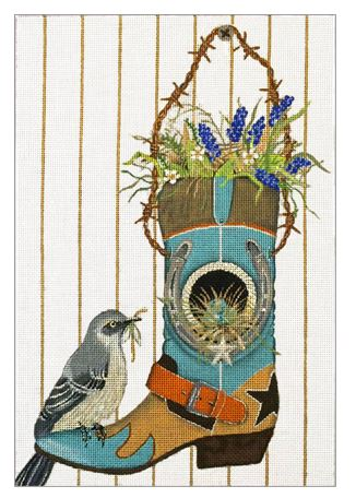 click here to view larger image of Bird House Boot  (hand painted canvases)