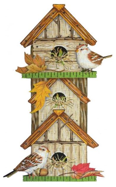 click here to view larger image of Fall Birdhouse   (hand painted canvases)
