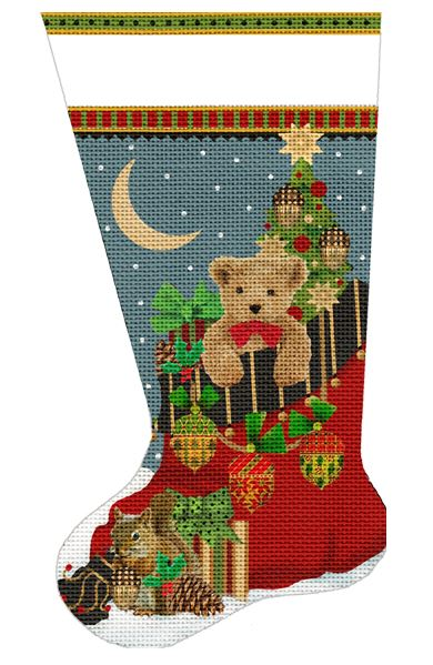 click here to view larger image of Acorn Teddy Bear Stocking (hand painted canvases)