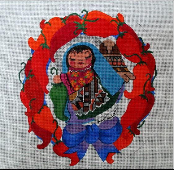click here to view larger image of Chilli Angel Wreath (hand painted canvases)