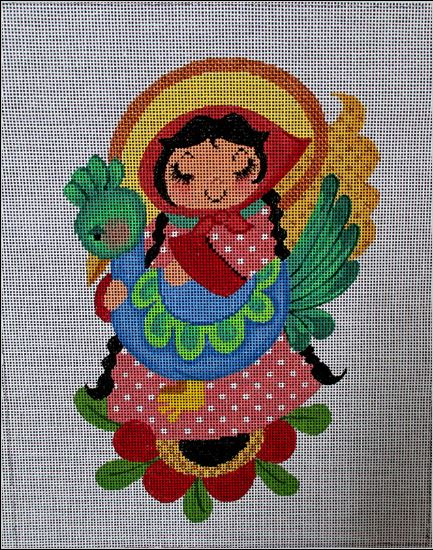click here to view larger image of Angel With Peacock (hand painted canvases)