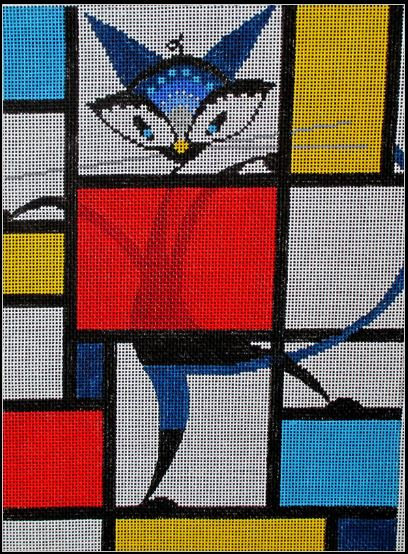 click here to view larger image of Mondrian Cat (hand painted canvases)