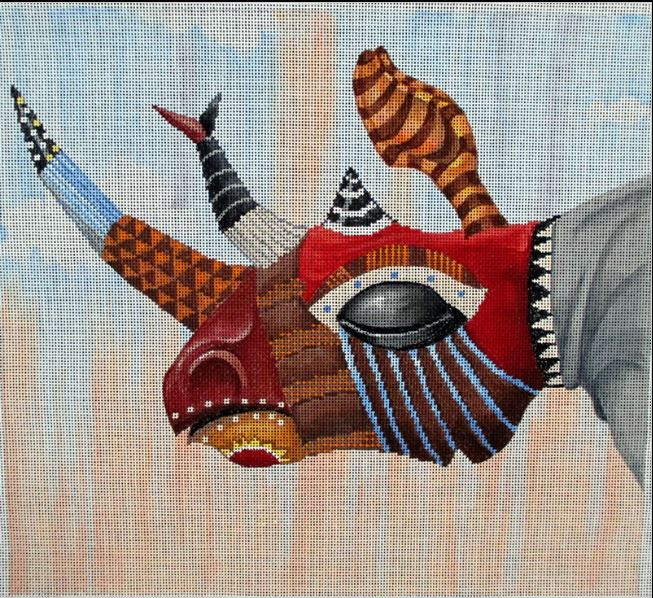 click here to view larger image of Tribal Mask Rhino (hand painted canvases)
