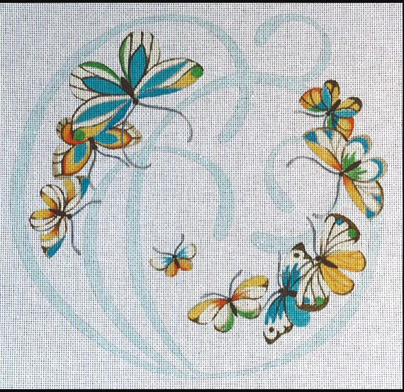 click here to view larger image of Butterflies - Swirl Shadow (hand painted canvases)