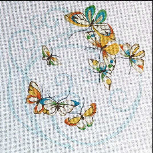 click here to view larger image of Butterflies - Curl Shadow (hand painted canvases)