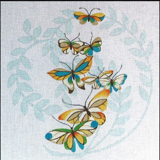 click here to view larger image of Butterflies - Leaf Shadow (hand painted canvases)