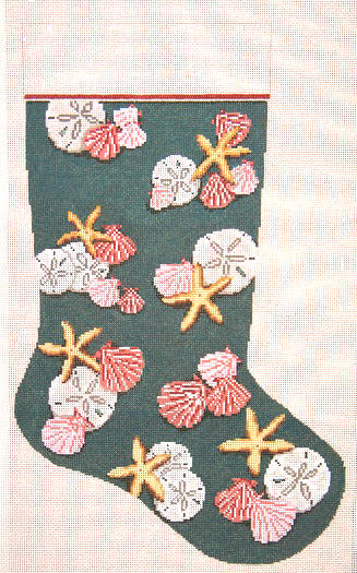 click here to view larger image of Multi-Shells Stocking  (hand painted canvases)