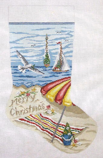 click here to view larger image of Christmas on Beach Stocking (hand painted canvases)