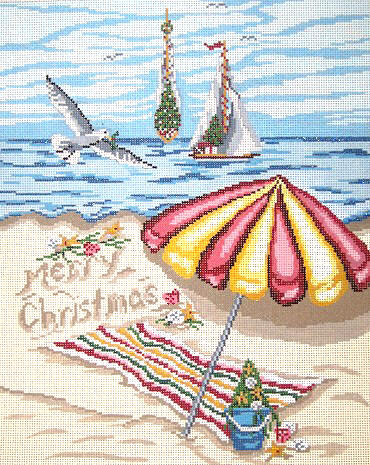 click here to view larger image of Christmas on Beach Pillow (hand painted canvases)