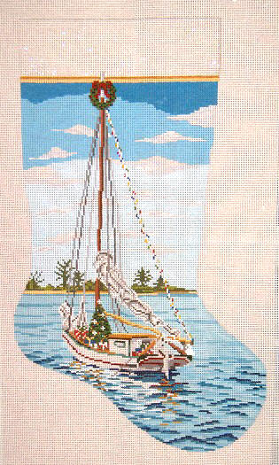 click here to view larger image of Christmas Sailing Stocking (hand painted canvases)