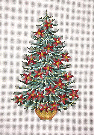 click here to view larger image of Poinsettia Garland Christmas Tree (hand painted canvases)