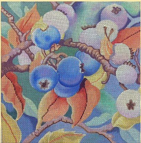 click here to view larger image of Autumn Blueberries (hand painted canvases)
